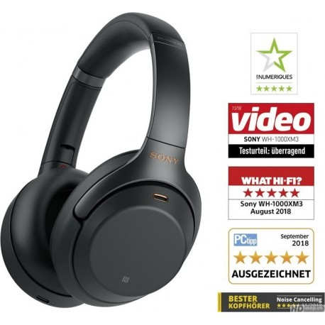 Casque Sony WH-1000XM3, Noir sans fil à réduction de bruit, Le No 1 !
