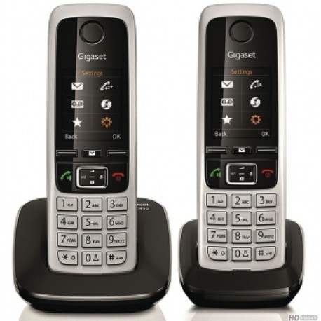 Gigaset Téléphone sans fil C430 Duo DECT Analogique Noir Noir Argent